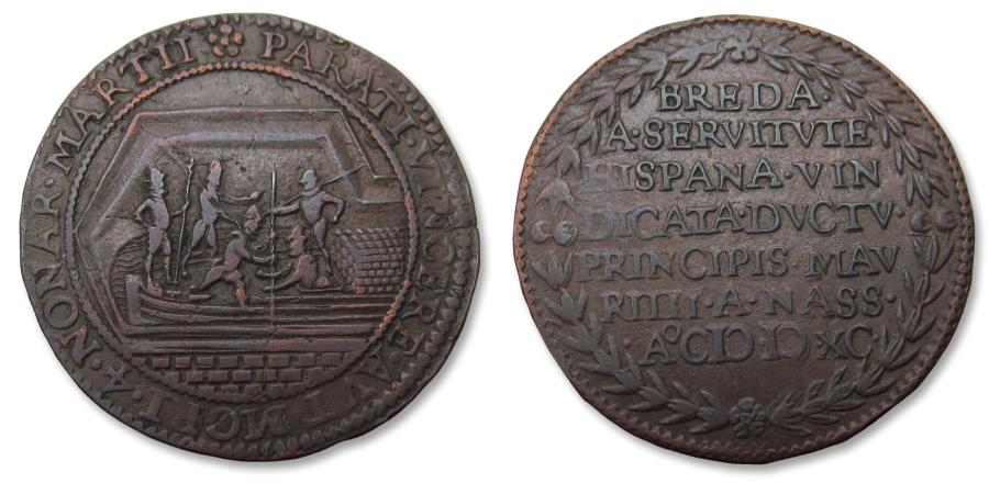 World Coins - Spanish Netherlands AE jeton Dordrecht mint 1590: the capture of Breda by the Dutch by using a peat boat