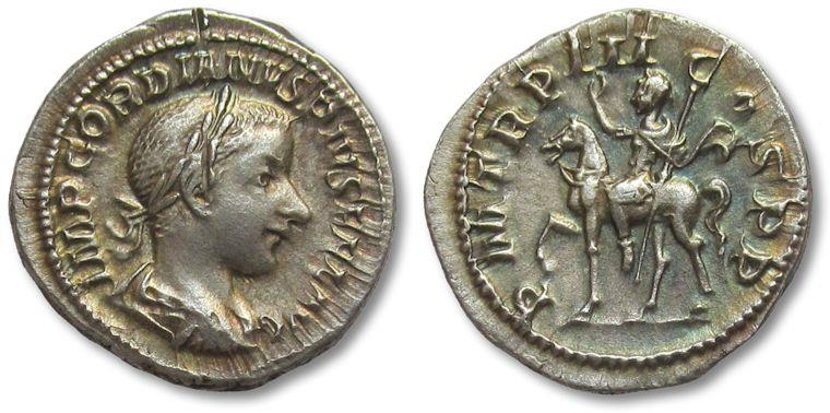 Ancient Coins - AR denarius Gordian III, Rome 240 A.D. -- superb coin & superb toning --