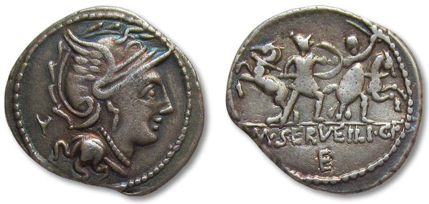Ancient Coins - AR denarius M. Servilius / Serveilius C.f., Rome 100 B.C.