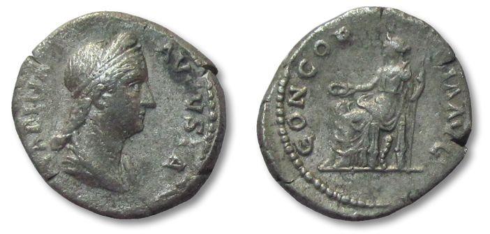 Ancient Coins - HS: AR denarius Sabina, Rome 128-137 A.D. --CONCORDIA--