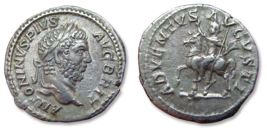Ancient Coins - AR denarius Caracalla, Rome mint 210-212 A.D. - rare cointype, ADVENTVS AVGVSTI!