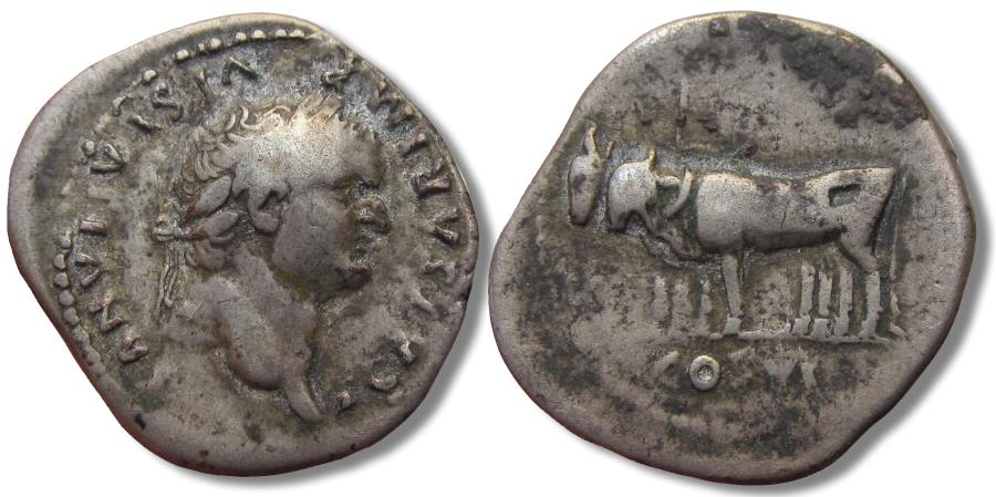 Ancient Coins - AR denarius struck under Vespasian, Titus as CAESAR, Rome 77-78 A.D. - yoke of oxen on reverse -