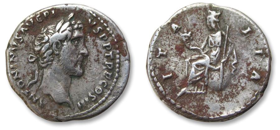 Ancient Coins - AR denarius Antoninus Pius - iconic depiction of Italia - Rome 141-143 A.D. - ITALIA, Italia seated left on globe -