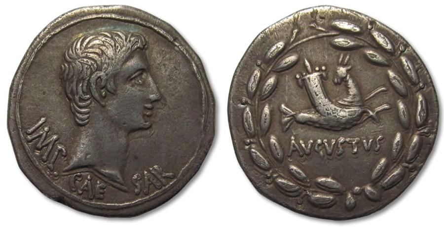 Ancient Coins - AR cistophoric tetradrachm Augustus, Ephesus, Ionia 25-20 B.C. -- capricorn --