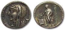 Ancient Coins - AR denarius L. Cassius Longinus, Rome 63 B.C. -- great toning --
