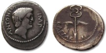 Ancient Coins - AR denarius Marc Antony & Octavian, late 40-early 39 B.C., southern or central Italian mint