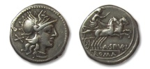 Ancient Coins - HS: AR denarius A. Spurius / Spurilius, Rome 139 B.C.