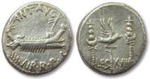 Ancient Coins - AR denarius Marcus Antonius / Marc Antony, LEG XVIII, Patrae mint 32-31 B.C.