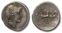 Ancient Coins - AR denarius T. Manlius Mancinus, Appius Claudius Pulcher & Q. Urbinius, Rome 111-110 B.C.