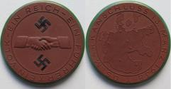 World Coins - Nazi Germany WW2 brown & black/green enameled porcelain medal 1938: on the annexation (anschluss) of Austria into Nazi Germany - rare -
