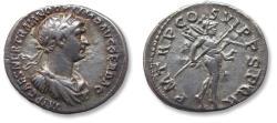 Ancient Coins - AR denarius Trajan / Trajanus, Rome 114-117 A.D. -P M TR P COS VI P P SPQR, scarce bust type (cuirassed)