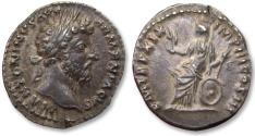 Ancient Coins - AR denarius Marcus Aurelius - near mint state condition - Rome mint 165 A.D. - Roma seated left -