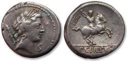 Ancient Coins - AR Denarius, P. Crepusius, Rome 82 B.C. - control numeral XXVIII on reverse -