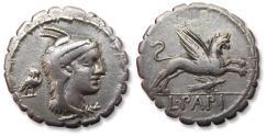 Ancient Coins - AR denarius L. Papius, Rome 79 B.C. -- eagle and owl control symbols, rare --