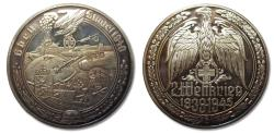 World Coins - 50mm Silver medal WW2: the German attack on fortress Eben Emael in Belgium 1940