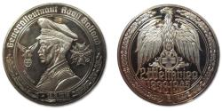 """World Coins - 50mm Silver medal WW2: A. """"Dolfo"""" Galland, ace and general of German Airforce"""