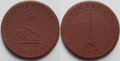 World Coins - Nazi Germany WW2 brown porcelain medal 1940: on the campaign in France & capture of Paris - rare -