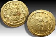 Ancient Coins - Gold solidus Justin II, Constantinople mint - CONOB in exergue, officina Z (Retrograde)