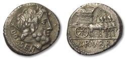 Ancient Coins - AR Denarius, L. Rubrius Dossenus. Rome 87 B.C.