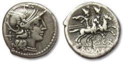Ancient Coins - AR denarius C. Scribonius, Rome 154 B.C.