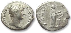 Ancient Coins - AR denarius Hadrian / Hadrianus, Rome 134-138 A.D. - Salus standing right -