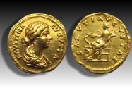 AV gold aureus Faustina II Junior - struck under Marcus Aurelius - Rome mint 161- 176 A.D. - SALVTI AVGVSTAE -