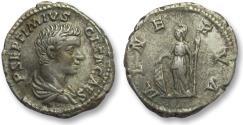 Ancient Coins - AR denarius Geta as Caesar, Rome 203-208 A.D. -- MINERVA --