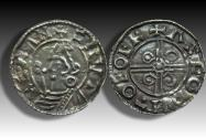 World Coins - Pointed Helmet type AR penny Cnut the Great - YORK mint 1024-1030 A.D. - moneyer ASGOD