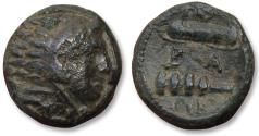 Ancient Coins - Macedonian Kingdom. AE unit, Alexander III. Uncertain mint circa 325-317 B.C. - with old paper collector's bag -
