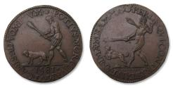 World Coins - Spanish Netherlands AE jeton Dordrecht mint 1581: the Dutch renounce Philip II as their king