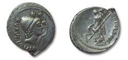 Ancient Coins - AR denarius, Mn. Cordius Rufus, Rome 46 B.C - sharp dual portrait of the Dioscuri -
