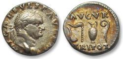 Ancient Coins - AR denarius Vespasian, Rome 72-73 A.D. -- beautiful gold toning --
