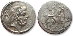 Ancient Coins - AR denarius, M. Nonius Sufenas, Rome 59 B.C. - great portrait of Saturn -
