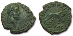 Ancient Coins - AE 17 (assarion) Commodus, Moesia Inferior - Nikopolis ad Istrum 177-192 A.D. - iconic she-wolf -