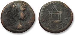 Ancient Coins - AE 16 (assarion) Septimius Severus, - Nikopolis ad Istrum 193-211 A.D. -- temple --