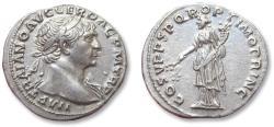 Ancient Coins - AR denarius Trajan / Trajanus, Rome mint 107-111 A.D. - outstanding coin -