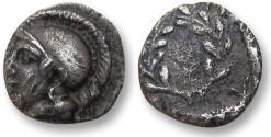 Ancient Coins - Aeolis, Elaia. AR hemiobol - tiny 8 mm coin with beautiful depiction of Athena - 450-400 B.C. -