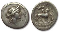 Ancient Coins - AR denarius M. Aemilius Lepidus, Rome 61 B.C.