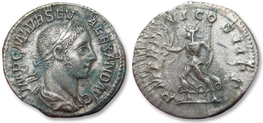 Ancient Coins - AR denarius, Severus Alexander. Rome mint 227 A.D. - P M TR P VI COS II P P, Pax advancing left -