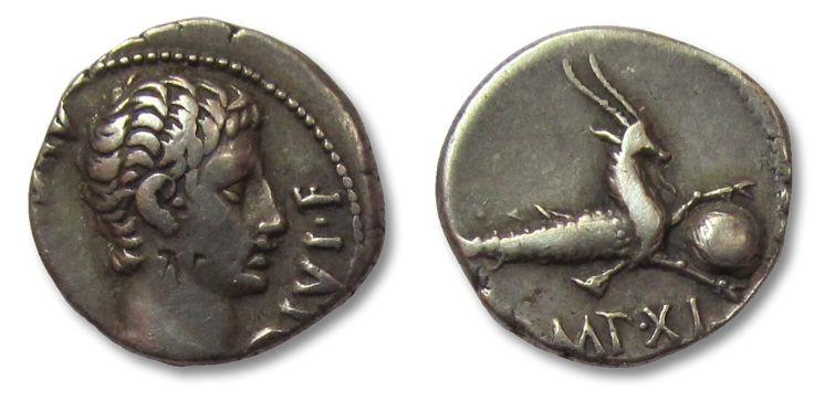 Ancient Coins - HS: AR denarius Augustus, Lugdunum mint 12 B.C.