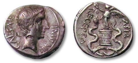 Ancient Coins - AR quinarius Octavianus, Italian mint 29-27 B.C. --excellent strike for the type--