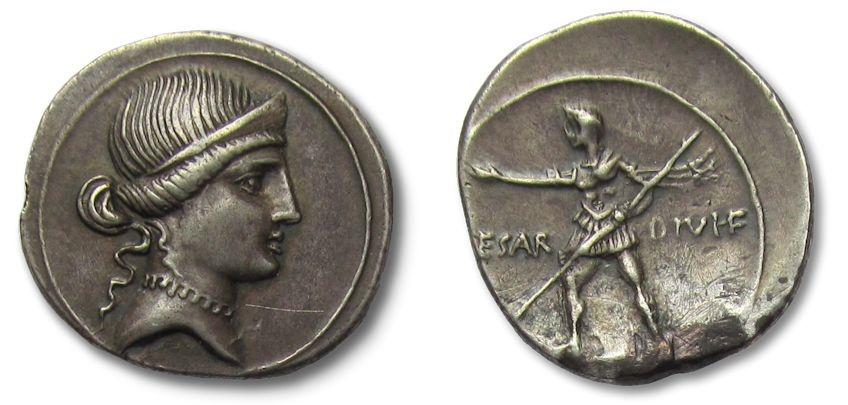 Ancient Coins - AR denarius Octavianus Augustus, Rome / Brundisium 32-31 B.C.