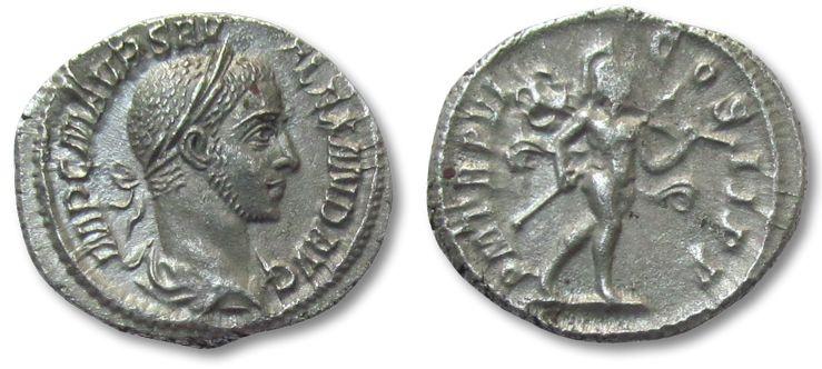 Ancient Coins - AR denarius Severus Alexander, Rome 227 A.D. --P M TR P VI, MARS walking right-