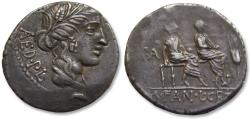 Ancient Coins - AR denarius L. Critonius and M. Fannius, Rome 86 B.C. -- beautiful strike & toning, scarcer type --