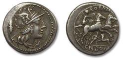 Ancient Coins - AR Denarius, Cn. Domitius Ahenobarbus. Rome 128 B.C. - miniature lion fighting man on reverse -