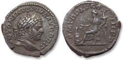 Ancient Coins - AR denarius Caracalla. Rome 212 A.D. - Salus seated left -