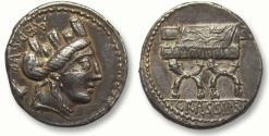 Ancient Coins - AR denarius P. Furius Crassipes, Rome 84 B.C. -- impressive & beautiful toning --