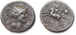 Ancient Coins - AR Denarius M. Sergius Silus. Rome, 116-115 B.C.