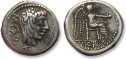 Ancient Coins - AR quinarius M. Porcius Cato, Rome 89 B.C. -- beautiful complete and sharp strike --
