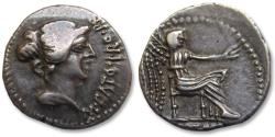 Ancient Coins - AR Denarius, M. Porcius Cato. African mint (Utica) 47-46 B.C. - sharply struck for the type -